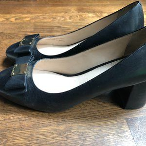 Cole Haan - Black Tali Leather Bow Pumps Size 9